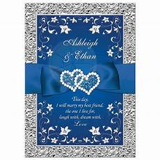 Royal Blue And Silver Wedding Invitations royal blue wedding invitation faux foil silver floral