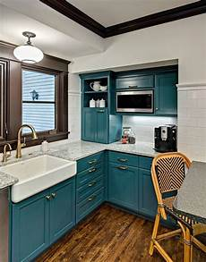 Kitchen Unit Makeover Paint by Kathryn Johnson Interiors Teal Kitchen Cabinets