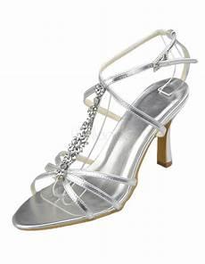 silver pu leather rhinestone wedding sandals milanoo