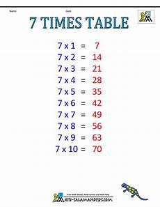 table de 7 times table charts 7 12 tables
