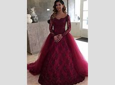 Burgundy Vestido De Noiva 2018 Muslim Wedding Dresses Ball
