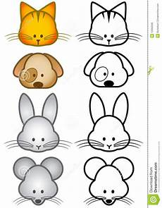 vector illustration set of pet animals stock
