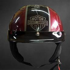 custom airbrush motorcycle half helmet with harley