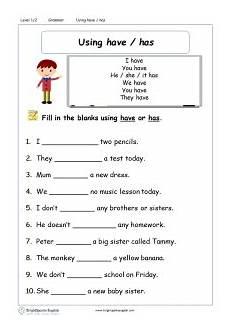 worksheets using has and have for grade 2 adverbs english grammar worksheet english treasure trove