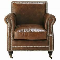fauteuil en cuir fauteuil 224 roulettes en cuir marron baudelaire maisons
