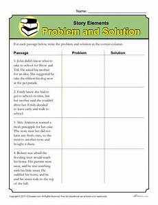 story elements worksheet problem and solution