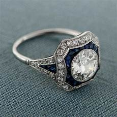 vintage style diamond and sapphire engagement ring 1 10