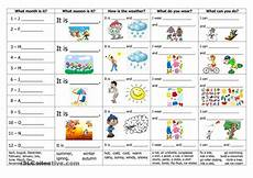 seasons time and weather worksheets 14867 months seasons weather clothes and activities fichas de trabalho ingles para criancas aulas