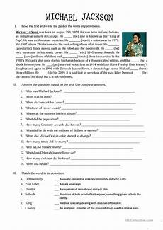 michael jackson biography english esl worksheets