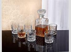 Crystal Whiskey Decanter Set 7 X Vintage Square Carafe