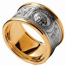 celtic ring men s white gold with yellow gold trim warrior shield wedding band at irishshop