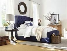 naples upholstered bed navy blue wrap design