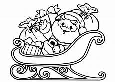 santa in sleigh coloring pages and print for free