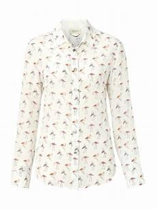 weekend by maxmara trau flamingo print blouse in white lyst