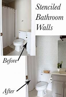 bathroom wall pictures ideas bathroom makeover stenciled walls plus a giveaway erin spain