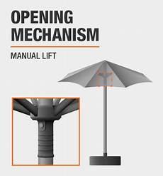 hton bay 7 5 ft steel market outdoor patio umbrella in coastal geo uts00203e lt the home depot
