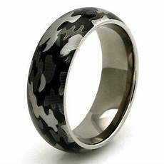 men s titanium snow camouflage camo design engravable wedding band ring ebay
