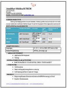 over 10000 cv and resume sles with free download b tech fresher resume sle it
