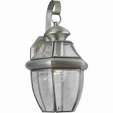forte lighting 1 light outdoor pewter wall lantern sconce with clear beveled glass 1201