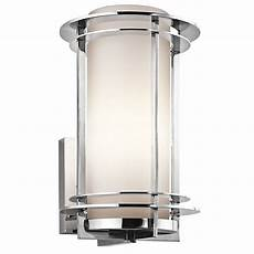 kichler outdoor wall light with white glass in stainless steel finish 49345pss316