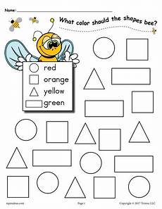 free worksheets colors and shapes 12712 6 bee themed shapes coloring pages supplyme