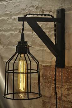 bulb guard wall sconce cage light l industrial retro vintage solid wood ebay