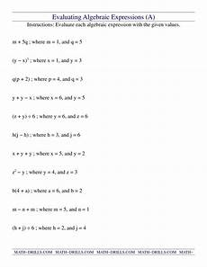 fraction algebraic expressions worksheets 3925 evaluating algebraic expressions a