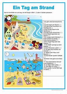 Malvorlagen Urlaub Strand Englisch Bildbeschreibung Ein Tag Am Strand Arbeitsblatt