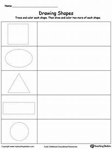 drawing shapes worksheets 1081 early childhood math worksheets myteachingstation