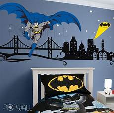 batman wall decal super hero cityscape avengers wall sticker for kids room superman bedroom