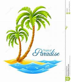 Malvorlagen Urlaub Island Tropical Palm On Island With Sea Waves Stock Vector