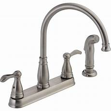 delta kitchen faucets home depot delta porter 2 handle standard kitchen faucet with side sprayer in stainless 21984lf ss the