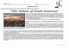 describing places worksheets printables 15977 reading and writing quot the athens of south america quot describing a city or town worksheet free esl