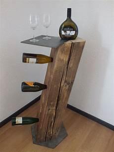 Stehtisch Mit Weinregal Unikat Altholz Holz Balken Ebay