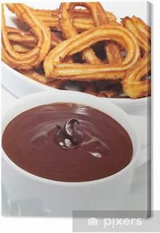 Leinwandbild Churros Con Chocolate Eine Typisch Spanische