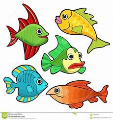 Ausmalbilder Bunte Fische Colorful Fishes Set Stock Vector Illustration Of