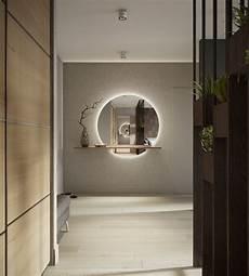 Spiegel Indirekte Beleuchtung - weiss grau beige flur runder spiegel indirekte beleuchtung