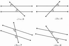 angle pairs formed by parallel lines cut by a transversal malude
