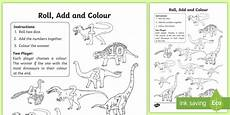 dinosaur worksheets year 1 15383 dinosaur colour and roll worksheet worksheet