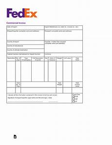 free fedex commercial invoice template pdf eforms free fillable forms
