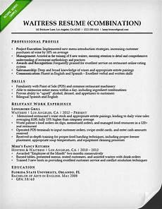 waitress combination resume sle employment resume