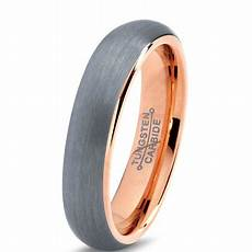 tungsten wedding band ring 5mm for men comfort fit 18k rose gold plated plated domed