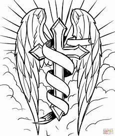 cross with wings in the clouds coloring page free