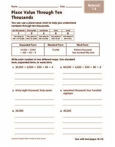 place value worksheets to ten thousands 5287 place value through ten thousands reteach worksheet for 2nd 3rd grade lesson planet