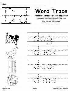 letter d worksheets 24203 letter d words free alphabet tracing worksheet supplyme