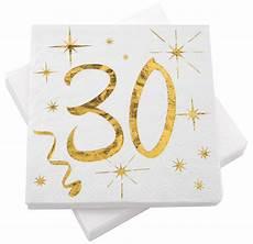 servietten tischdeko geburtstag zahlen gold wei 223 18 20 30