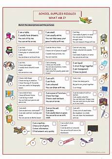 what am i school supplies riddles worksheet free esl printable worksheets made by teachers