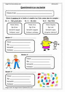 worksheets la famille 18941 questionnaire about ma famille teaching resources