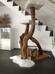 Selbst Gebauter Kratzbaum Aus Altem Baumstamm Mit