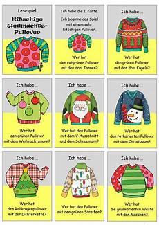 lesespiel kitschige weihnachtspullover ich habe wer